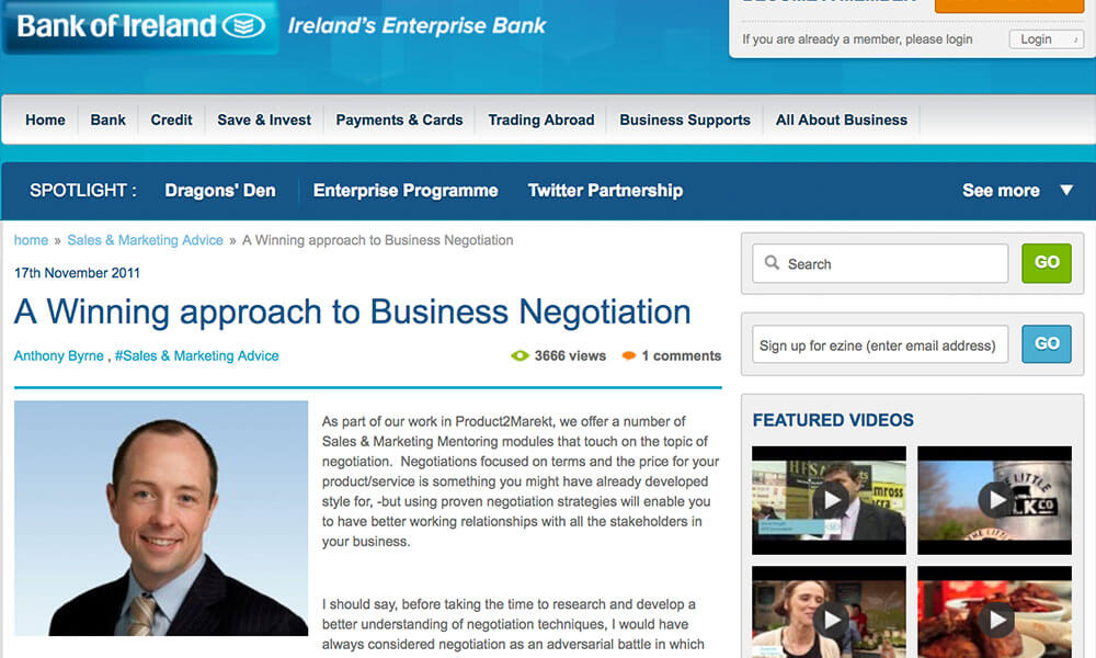 "AllAboutBusiness.ie Article – ""A Winning Approach To Business Negotiation"